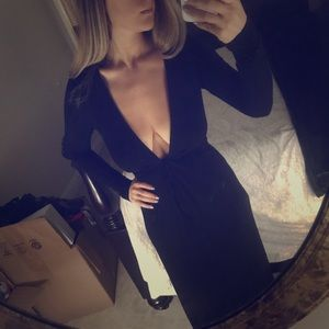 Sweet and sexy black long sleeve gown